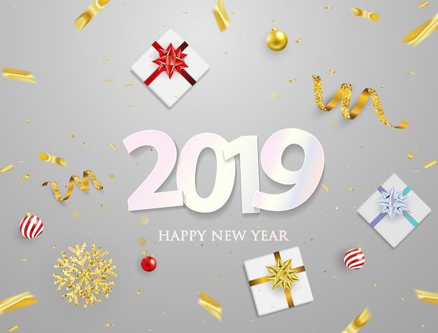 Cartaz de festa de 2019 e feliz ano novo fundo. Vetor Premium