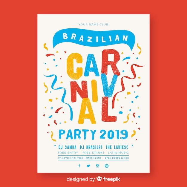 Cartaz de festa de carnaval brasileiro de confete Vetor grátis