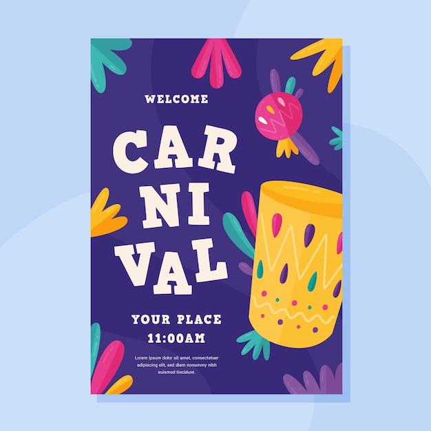 Cartaz de festa de carnaval de design plano Vetor grátis