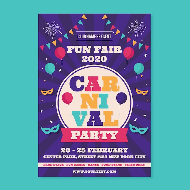 Cartaz de festa de carnaval em design plano Vetor grátis