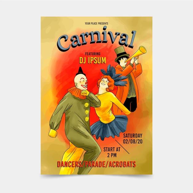 Cartaz de festa de carnaval vintage palhaços e dançarinos Vetor grátis