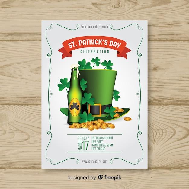 Cartaz de festa de elementos de st patrick realista Vetor grátis
