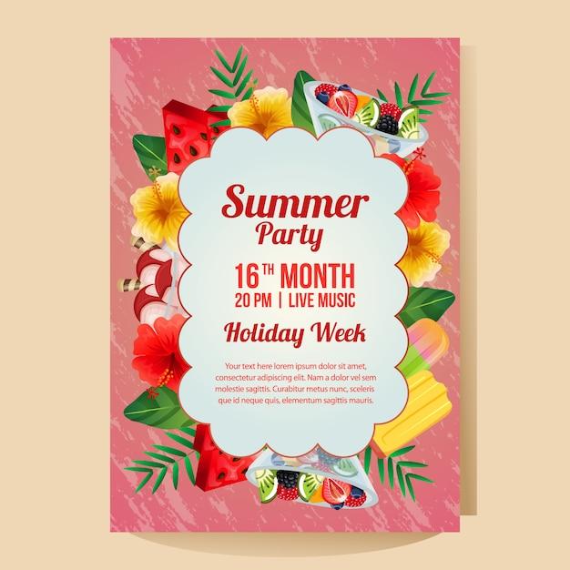 Cartaz de festa de férias de verão com ilustração em vetor refresco objeto colorido Vetor Premium