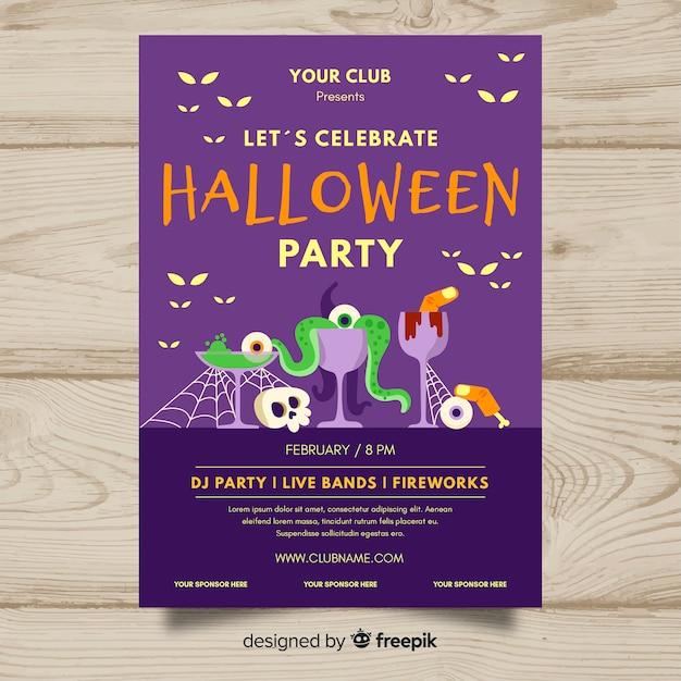 Cartaz de festa de halloween assustador com design plano Vetor grátis