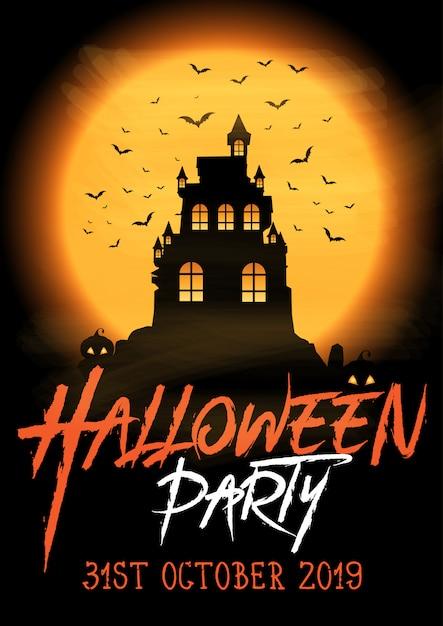 Cartaz de festa de halloween com castelo assustador Vetor grátis