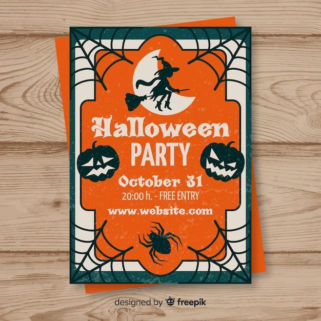 Cartaz de festa de halloween em design plano Vetor grátis