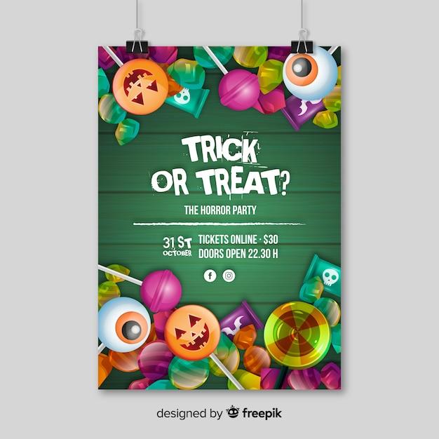 Cartaz de festa de halloween moderno com design realista Vetor grátis