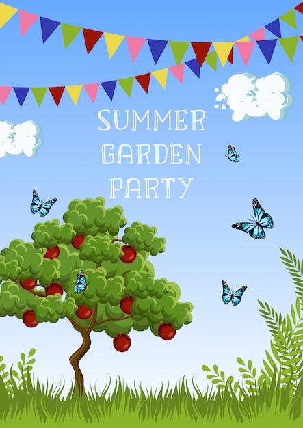 Cartaz de festa de jardim de verão com macieira, grama, borboletas, nuvens, céu, bandeiras e texto. Vetor Premium