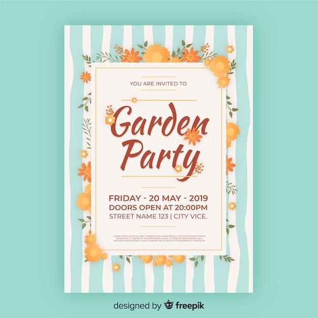 Cartaz de festa de jardim listrado Vetor grátis