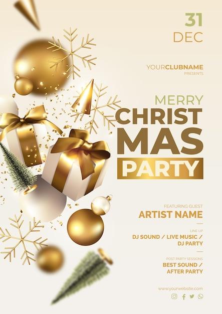 Cartaz de festa de natal com enfeites realistas Vetor grátis