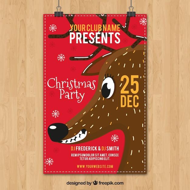 Cartaz de festa de natal com rena sorrindo Vetor grátis