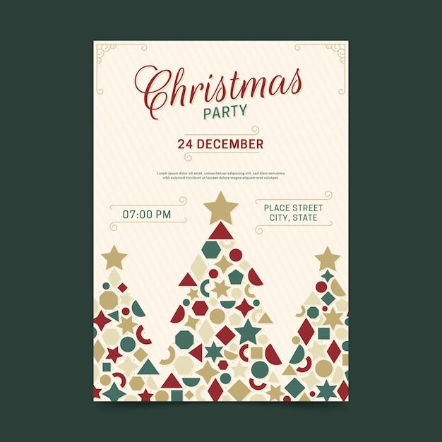 Cartaz de festa de natal de formas geométricas de árvore Vetor grátis