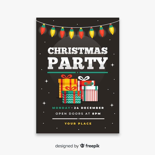 Cartaz de festa de natal em design plano Vetor grátis