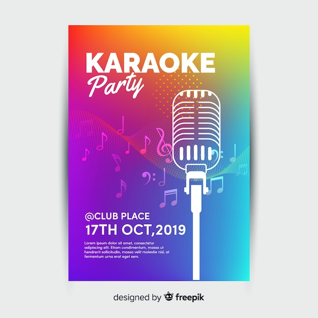 Cartaz de festa de noite de karaoke ou modelo de folheto Vetor Premium