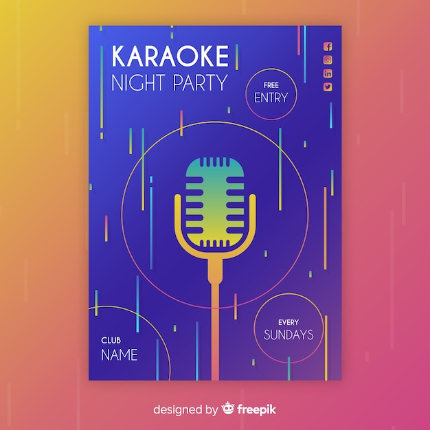 Cartaz de festa de noite de karaoke ou modelo de folheto Vetor grátis