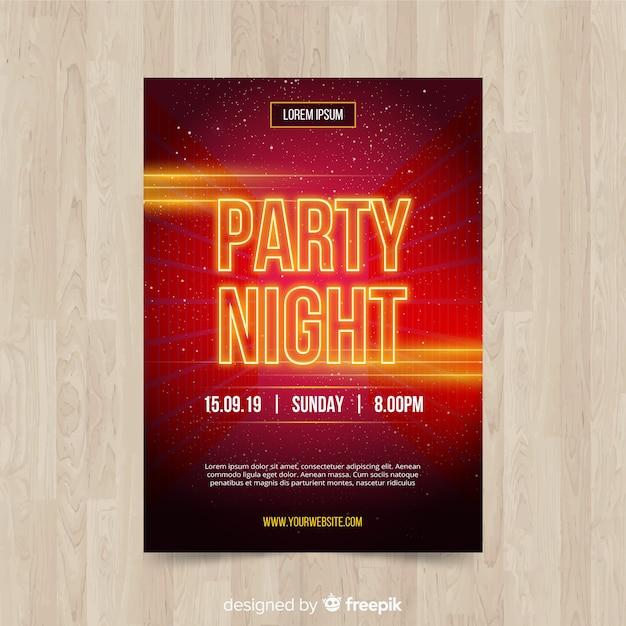 Cartaz de festa de noite de letra cintilante Vetor grátis