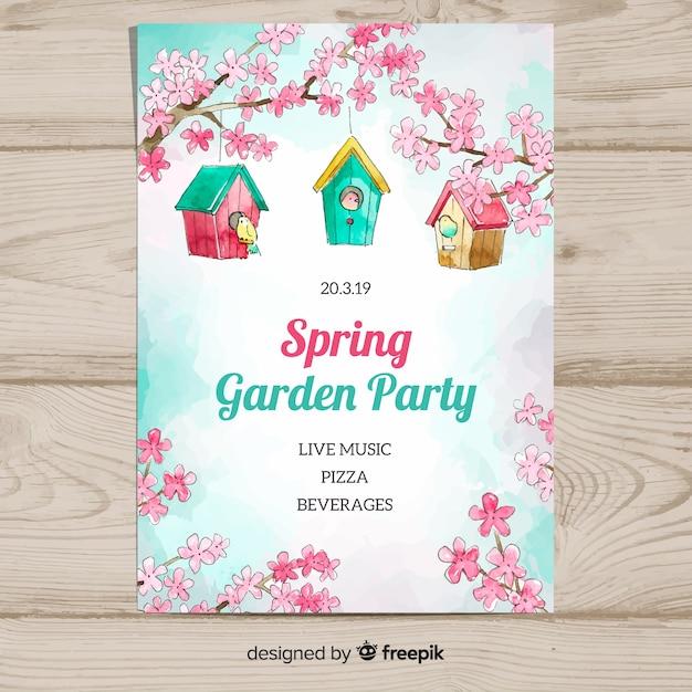 Cartaz de festa de primavera aquarela pássaro casa Vetor grátis