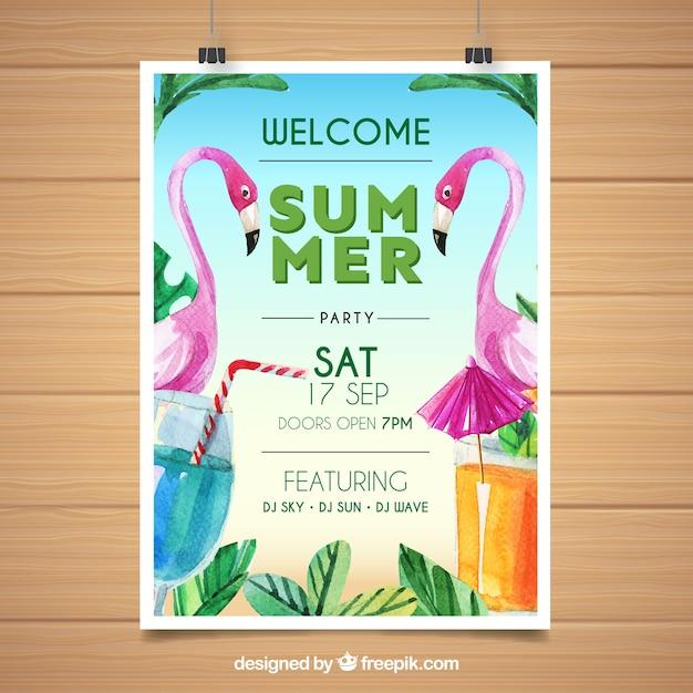 Cartaz de festa de verão com flamingos de aquarela Vetor grátis