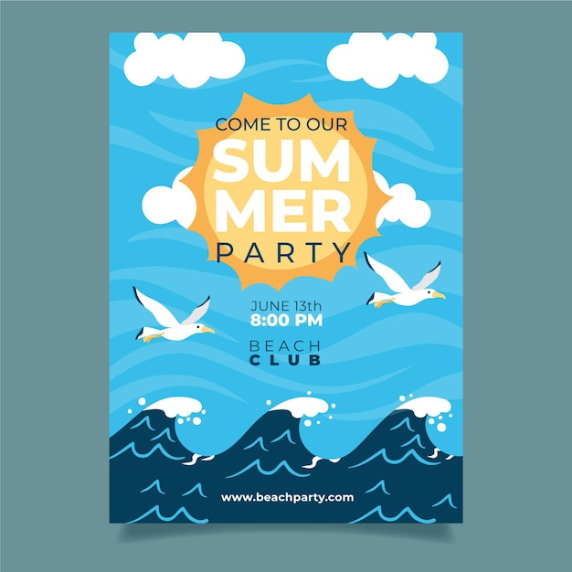 Cartaz de festa de verão com ondas e pássaros Vetor grátis