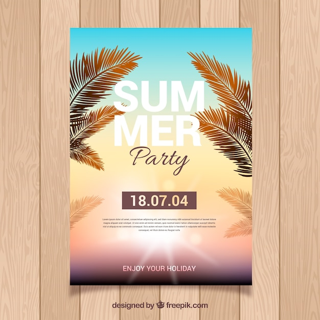 Cartaz de festa de verão com pôr do sol Vetor grátis