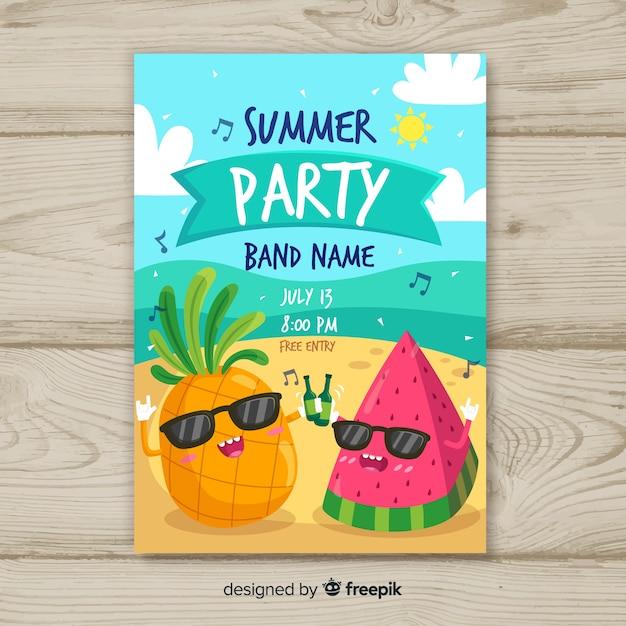 Cartaz de festa de verão desenhada de mão Vetor grátis