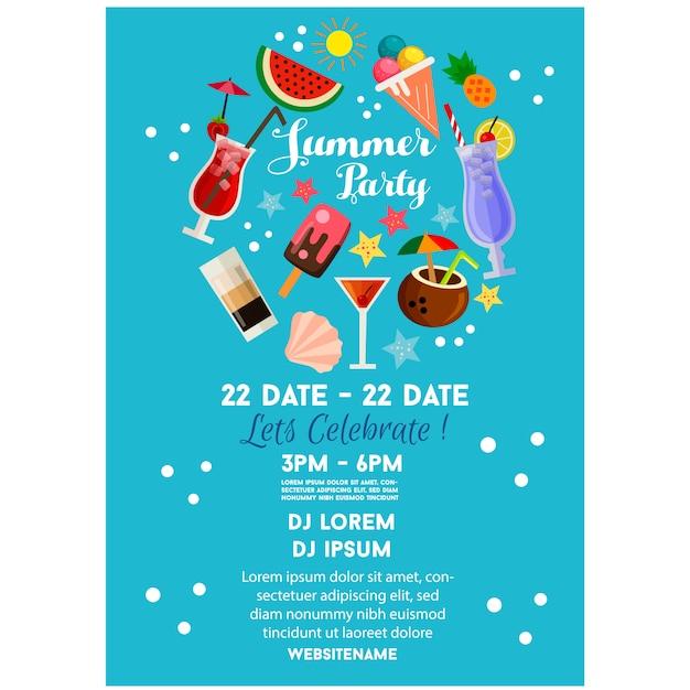 Cartaz de festa de verão ou panfleto modelo azul estilo simples cocktail bebida Vetor Premium