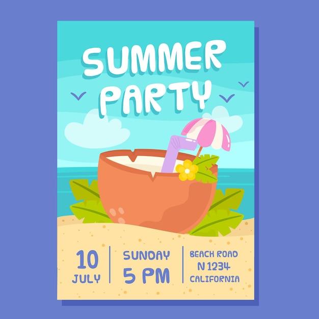 Cartaz de festa desenhada verão mão Vetor grátis
