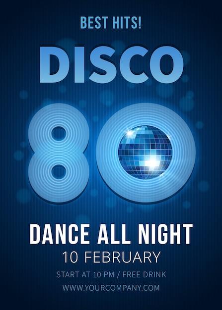 Cartaz de festa discoteca com bola de espelhos. melhores sucessos dos anos 80. música e clube, pôster e boate. ilustração vetorial Vetor grátis