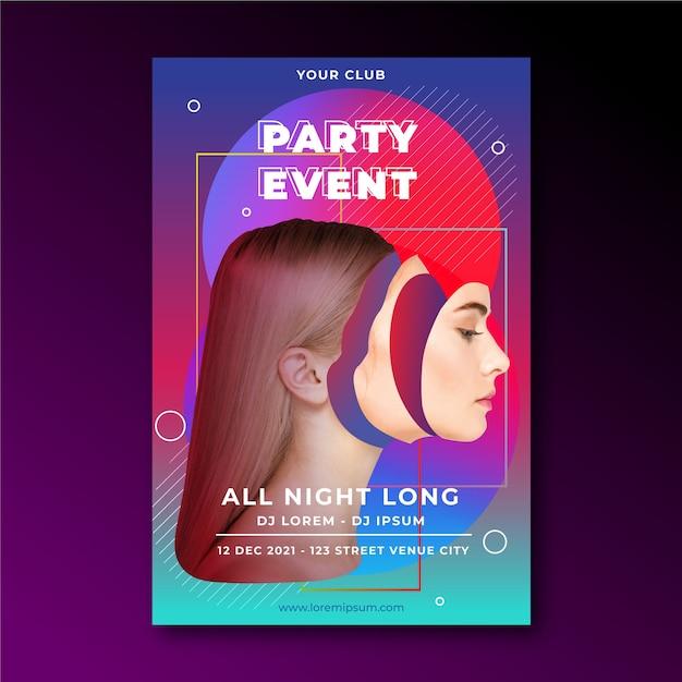 Cartaz de festa evento abstrato com mulher editada Vetor grátis