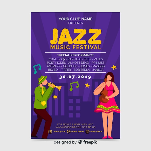 Cartaz de festa festival de música de jazz ou modelo de folheto Vetor grátis