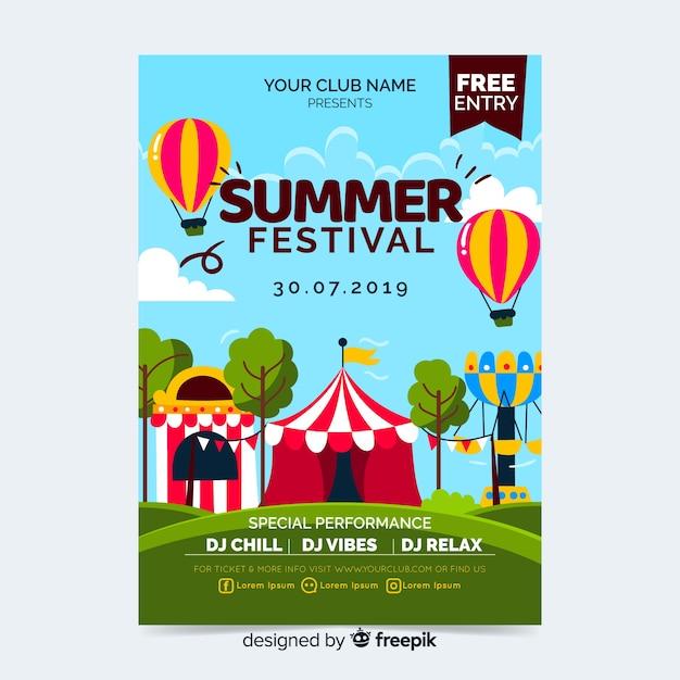 Cartaz de festa festival de música ou modelo de panfleto Vetor grátis