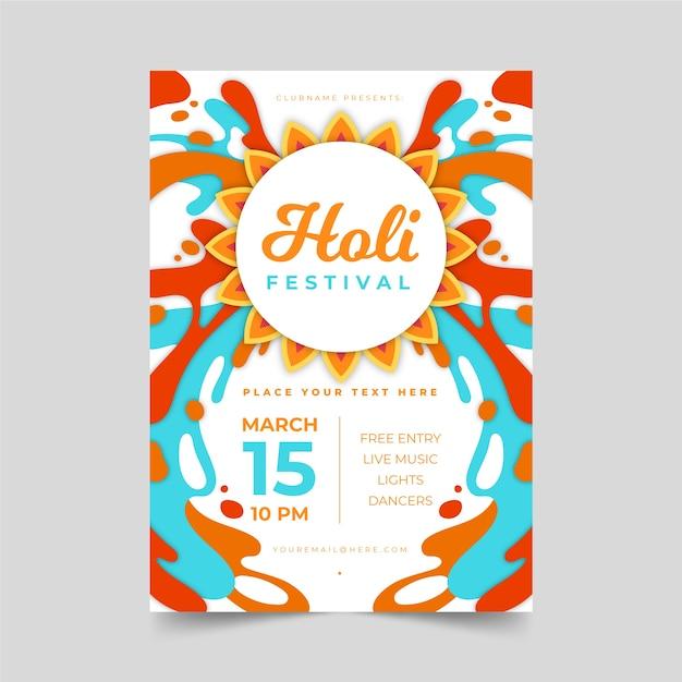 Cartaz de festa holi com tinta colorida Vetor grátis