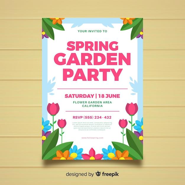 Cartaz de festa jardim primavera plana Vetor grátis