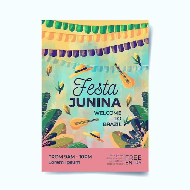 Cartaz de festa junina em aquarela Vetor grátis