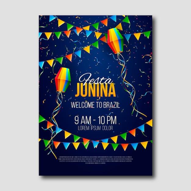 Cartaz de festa junina festa realista Vetor grátis