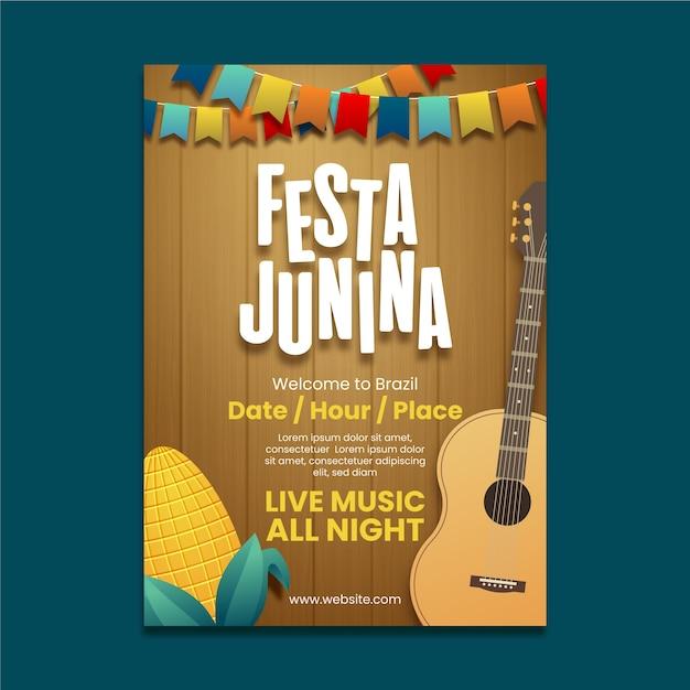 Cartaz de festa junina realista com guitarra Vetor grátis