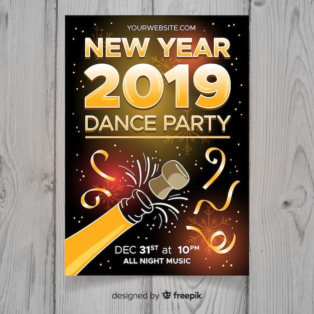 Cartaz de festa moderna mão desenhada ano novo Vetor grátis