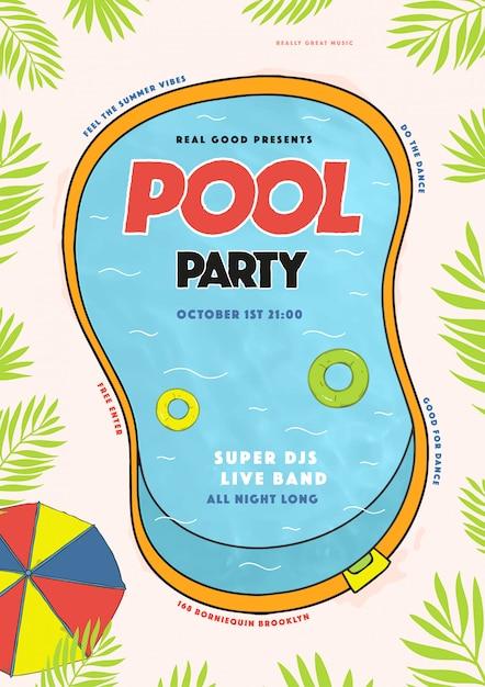 Cartaz de festa na piscina. evento de verão, festival vector colorida ilustração, cartaz, Vetor Premium