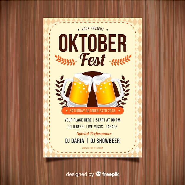 Cartaz de festa oktoberfest com design realista Vetor grátis