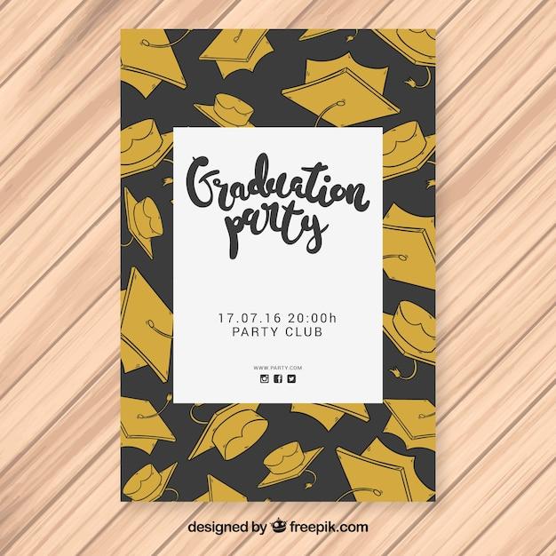 Cartaz de festa preto e dourado com bonés de graduação desenhados à mão Vetor grátis