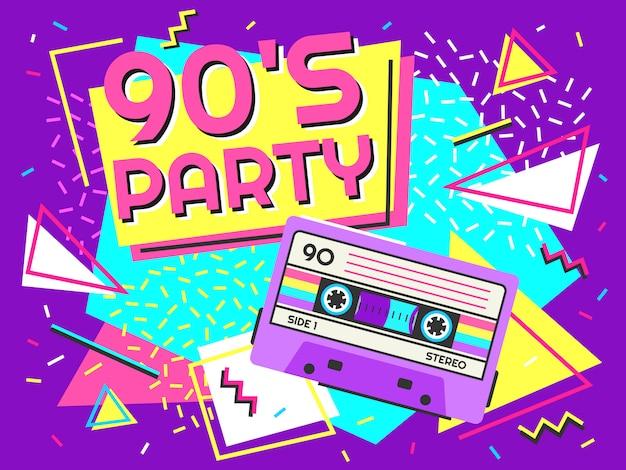 Cartaz de festa retrô. música dos anos noventa, banner de fita cassete vintage e ilustração de fundo de estilo Vetor Premium