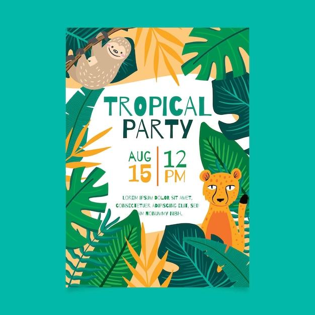Cartaz de festa tropical com animais Vetor grátis