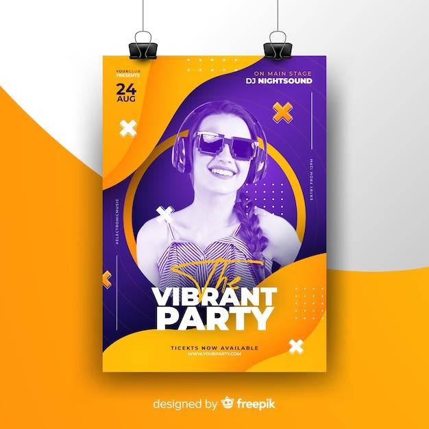 Cartaz de festival de música abstrata com foto Vetor grátis