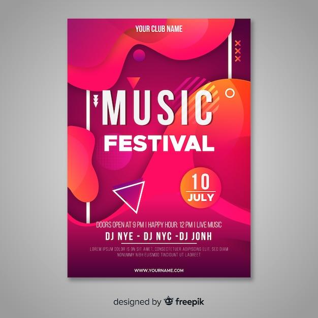 Cartaz de festival de música abstrata Vetor grátis