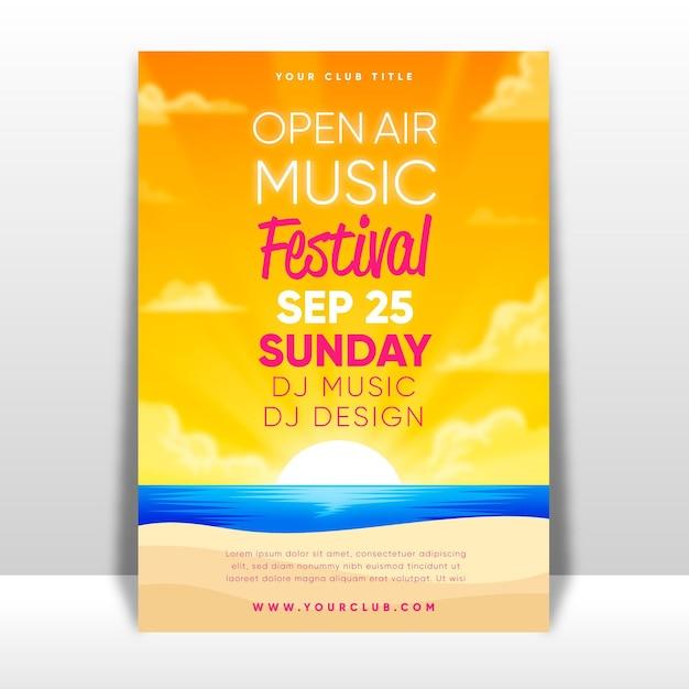 Cartaz de festival de música ao ar livre Vetor grátis