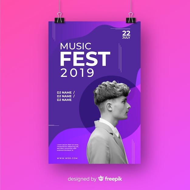 Cartaz de festival de música com foto Vetor grátis