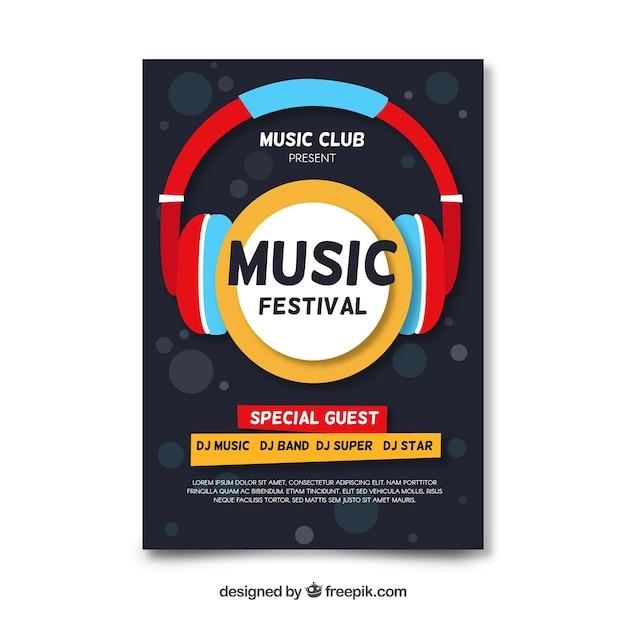 Cartaz de festival de música de fones de ouvido plana Vetor grátis