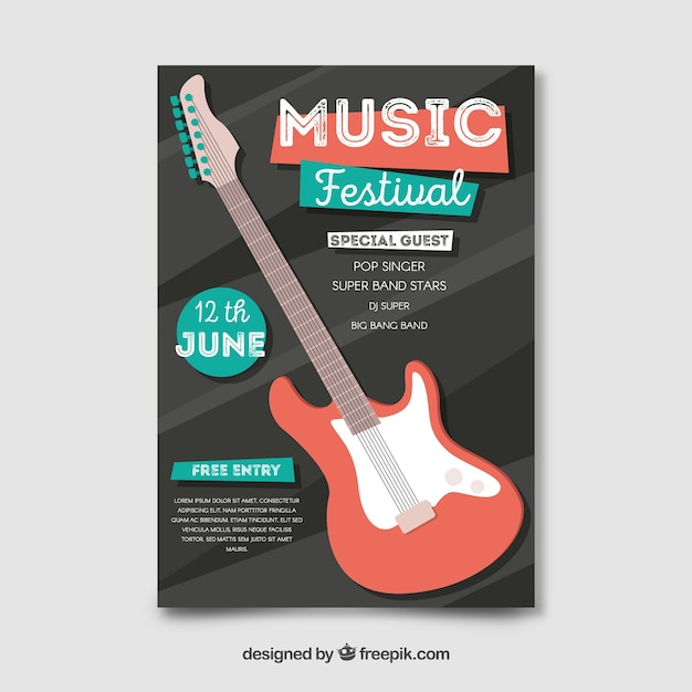 Cartaz de festival de música de guitarra elétrica plana Vetor grátis