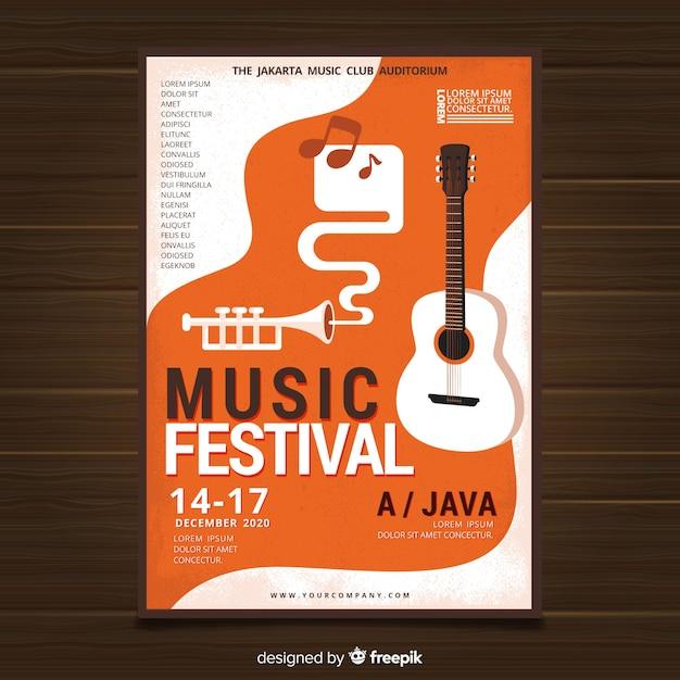Cartaz de festival de música de guitarra plana Vetor grátis
