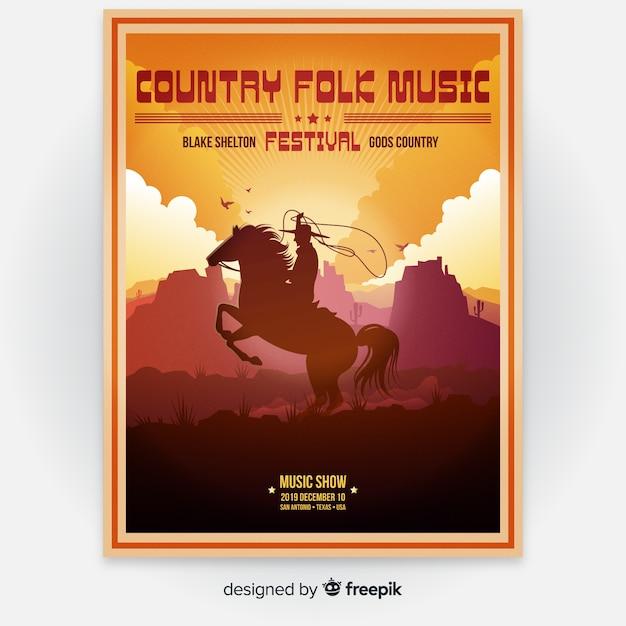 Cartaz de festival de música de ilustração de gradiente Vetor grátis
